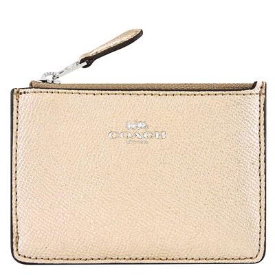COACH 金色光澤防刮皮革鑰匙零錢包