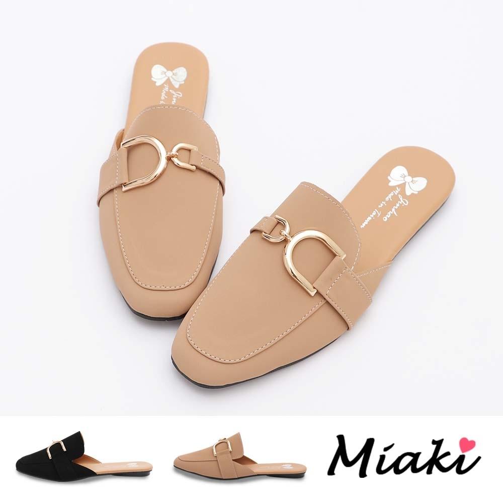 Miaki-穆勒鞋.韓風造型飾釦平底包鞋 (粉色系)