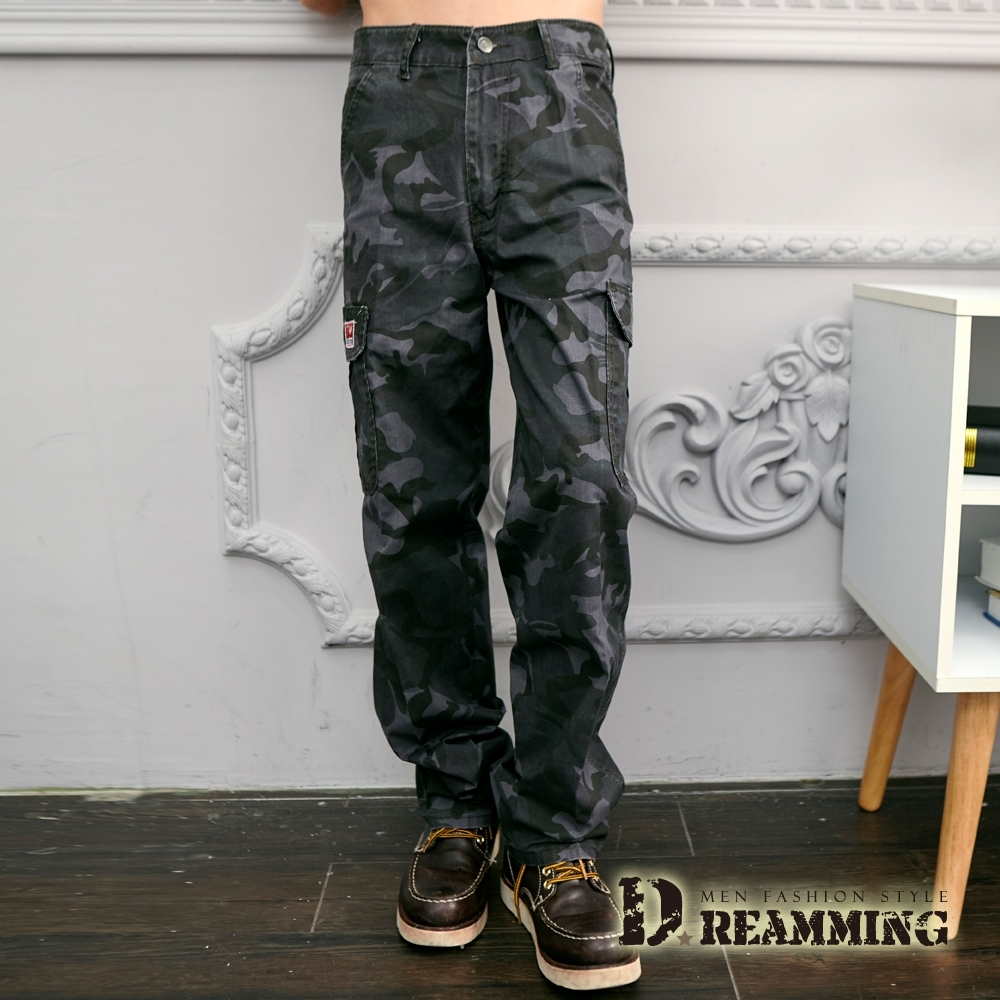 Dreamming 戰鬥迷彩機能伸縮休閒工作長褲-共三色 (藍灰)