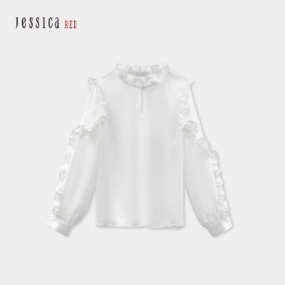 JESSICA RED - 白色褶皺木耳邊立領甜美百搭雪紡上衣