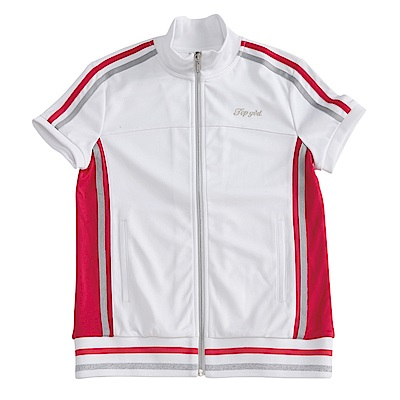 【TOP GIRL】美式運動系女孩針織立領短袖外套-經典白