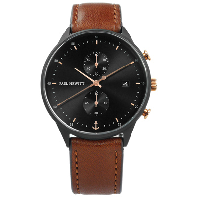 PAUL HEWITT Chrono Line 藍寶石水晶玻璃真皮手錶-黑x咖啡/42mm