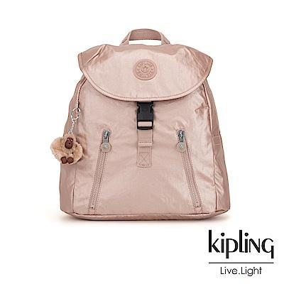 Kipling 唯美玫瑰金前扣翻蓋後背包-ZAKARIA