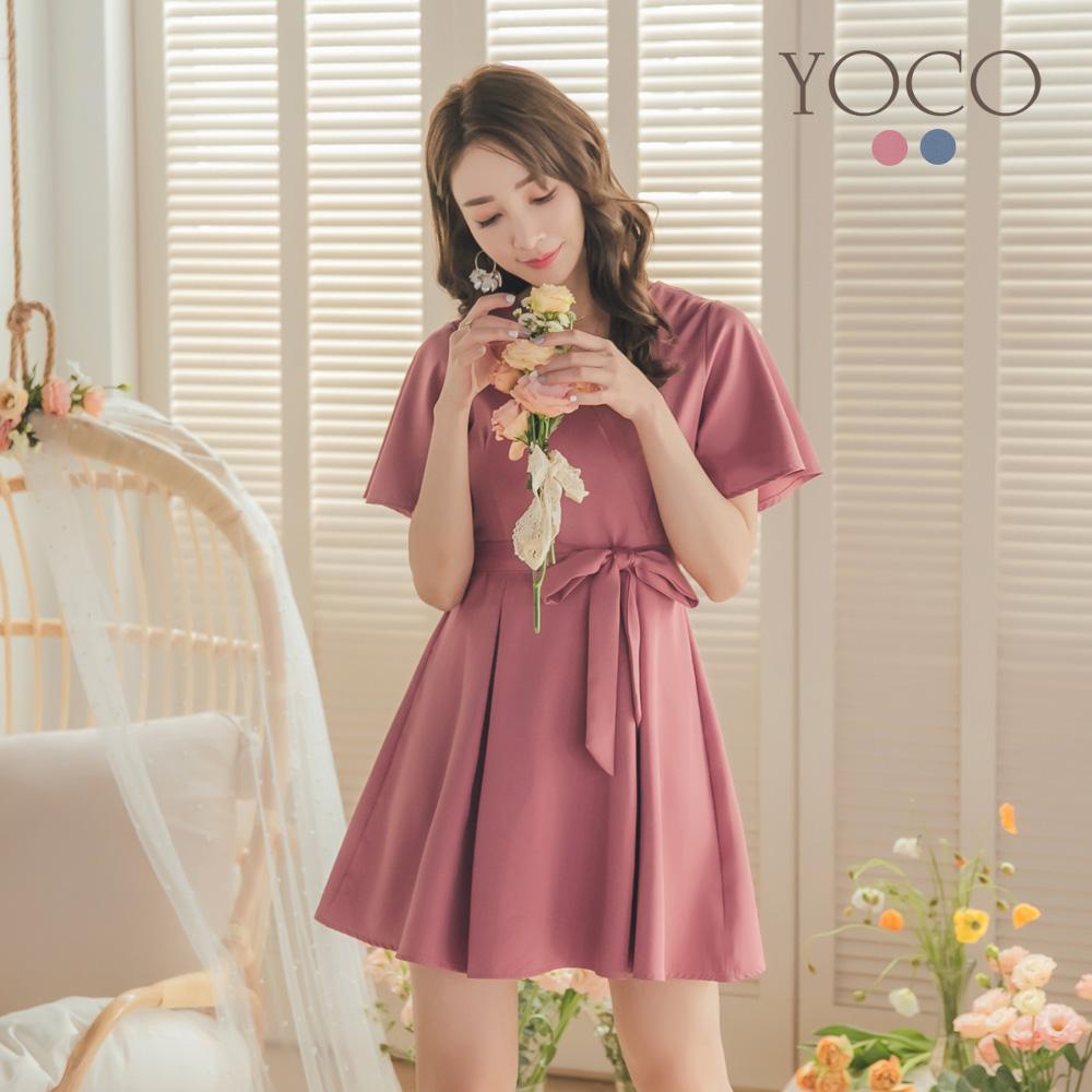 東京著衣-YOCO 浪漫優雅V領附綁帶雪紡洋裝-S.M.L-(共二色)