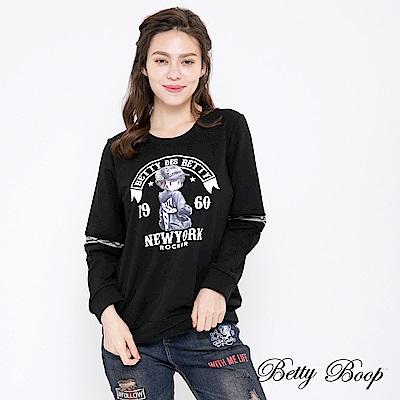 Betty Boop貝蒂 圓領彩圖手肘拼接上衣(共兩色)