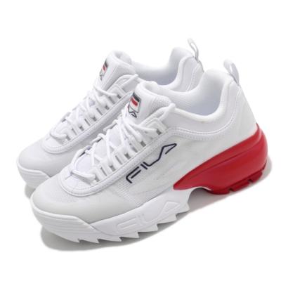 Fila 休閒鞋 Disruptor 2A 厚底 老爹鞋 女鞋 斐樂 鋸齒鞋 穿搭 增高 耐磨 緩震 白 紅 5C113V126