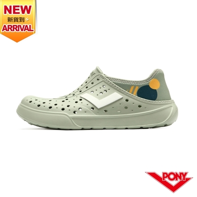 【PONY】ENJOY洞洞鞋 踩後跟 雨鞋 水鞋 中性款-色塊/灰綠