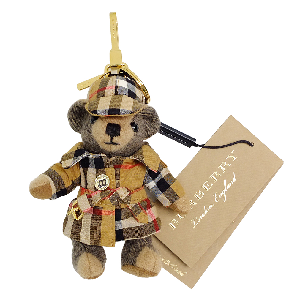 BURBERRY Vintage 格紋風衣造型 Thomas 泰迪熊墜飾