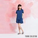 YVONNE 膠原美膚打褶短褲- 藍M