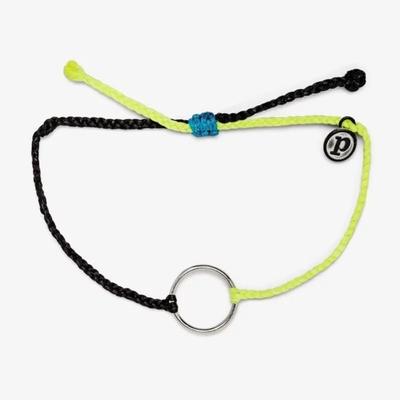 Pura Vida 美國手工 TWO-TONE FULL CIRCLE CHARM 銀色圓圈 黑黃雙色蠟線衝浪手鍊手環