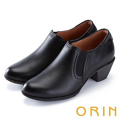 ORIN 中性英倫風必備 雙色打蠟牛皮粗中跟鞋-黑色