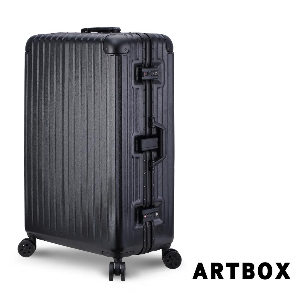 【ARTBOX】冰封奧斯陸 29吋 平面凹槽拉絲紋鋁框行李箱 (黑色)