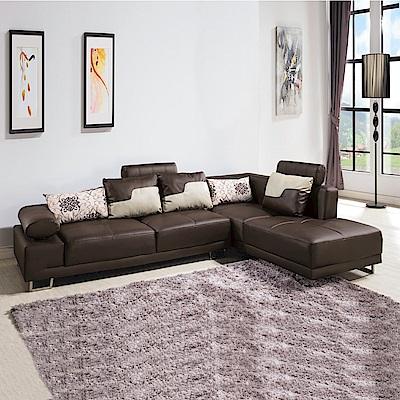 AS-諾頓L型咖啡皮沙發