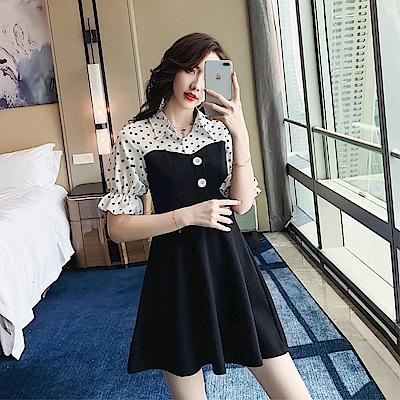 DABI 韓國風波點襯衫拼接泡泡袖修身氣質短袖洋裝