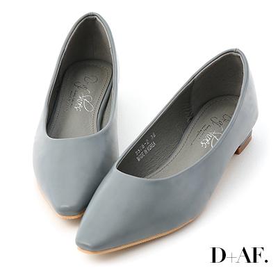 D+AF 純色時尚.素面微尖頭低跟鞋*藍