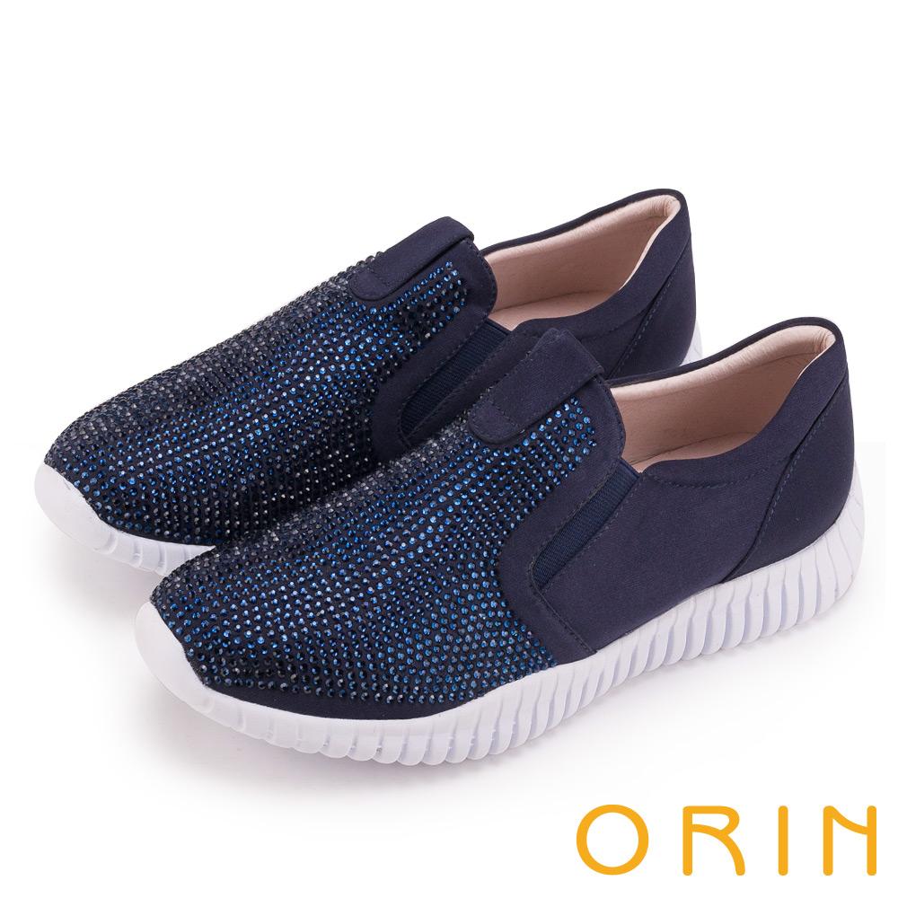 ORIN 休閒時尚風 閃閃燙鑽平底休閒鞋-藍色