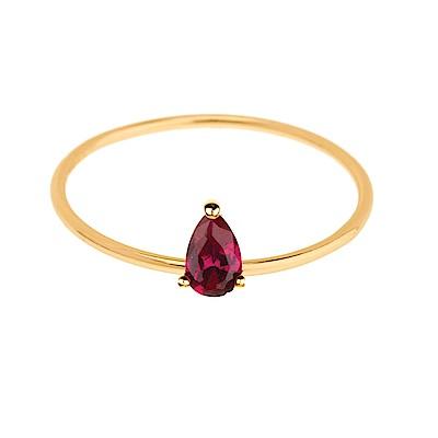 SHASHI 紐約品牌 Kamila 水滴鑽戒指 紅寶石 925純銀鑲18K金