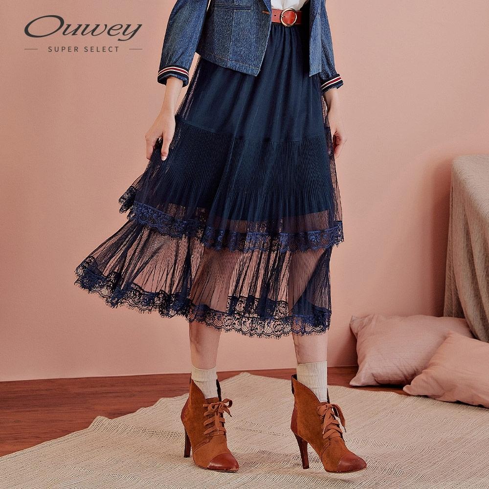 OUWEY歐薇 雙層蕾絲百摺網紗裙(藍)