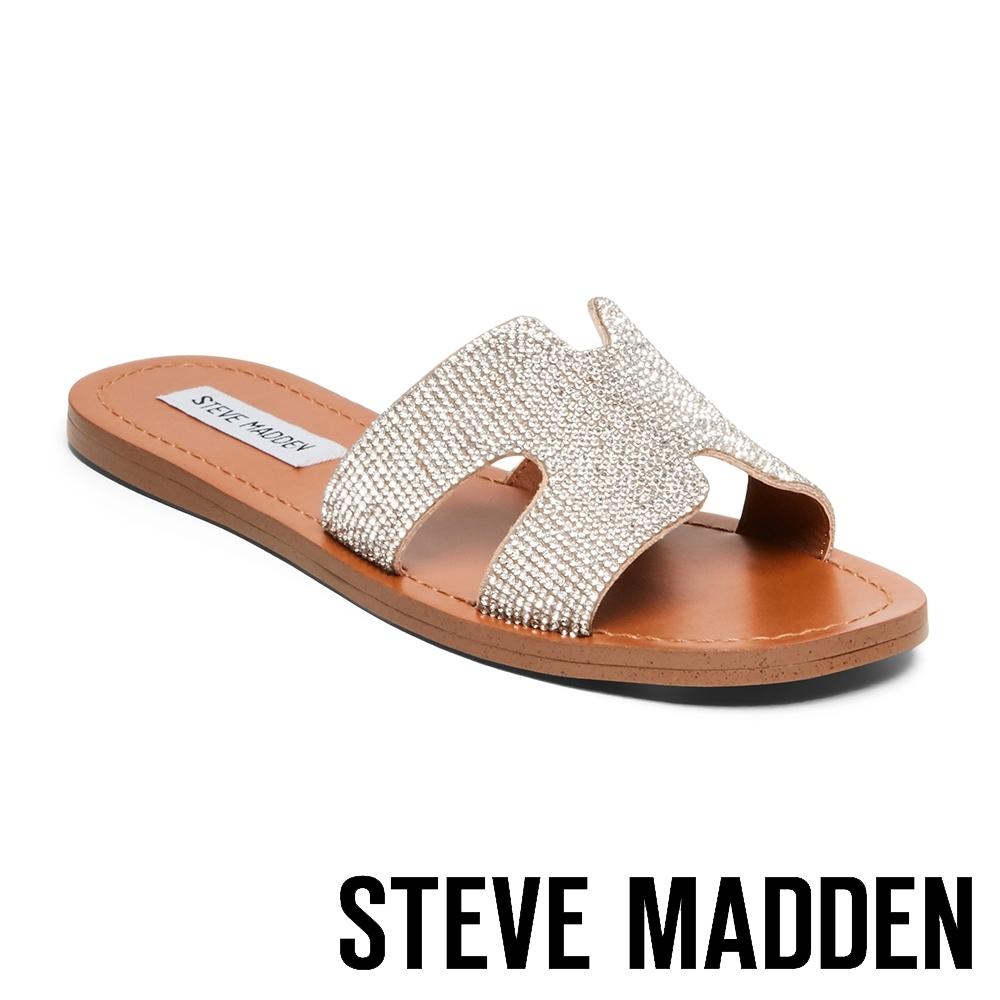 STEVE MADDEN-HOLLYWOOD 好萊塢水鑽皮革簍空拖鞋-金銅色