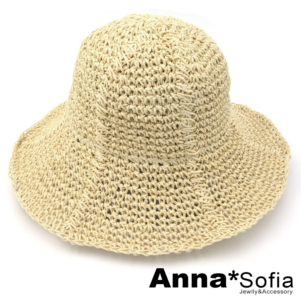 AnnaSofia 純手工平針編條 遮陽防曬淑女帽草帽漁夫帽(米杏系)