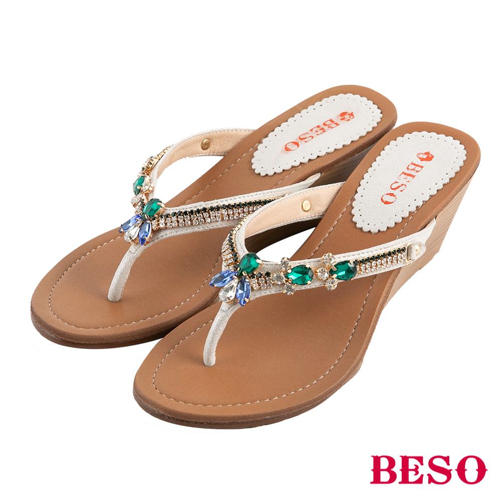 BESO 晶鑽寶石 水鑽人字夾腳涼拖鞋~金