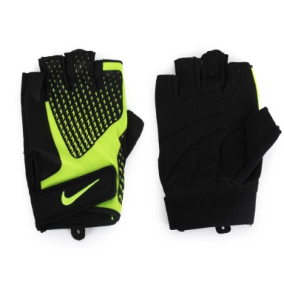 NIKE 男用CORE LOCK健力手套2.0-重訓 健身 NLG38023XL 黑螢光綠