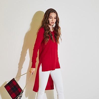ICHE 衣哲 100%美麗諾羊毛前短後長針織長版造型上衣(兩色)-紅