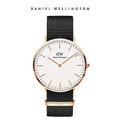 DW 手錶 官方旗艦店 40mm玫瑰金框 Classic 寂靜黑織紋錶