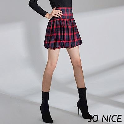 SO NICE蘇格蘭格紋燈籠短裙
