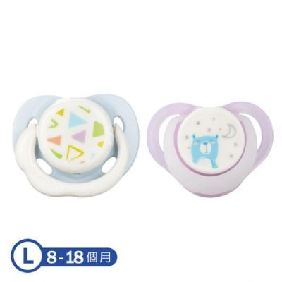 【康貝 Combi】日+夜用安撫奶嘴二入組L-幾何藍+夜夢熊(紫)
