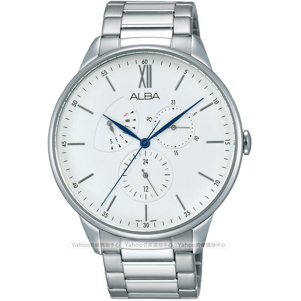 ALBA 雅柏 年輕時代日曆腕錶(AZ8009X1)-銀/45mm