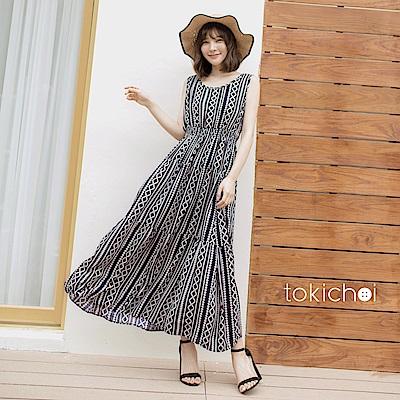 東京著衣 波西米亞圖騰無袖長洋裝(共一色)