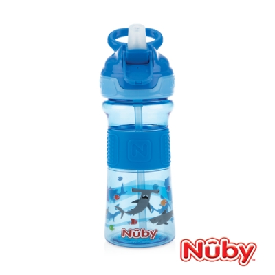 Nuby Tritan運動水杯-藍鯊魚(藍提把)