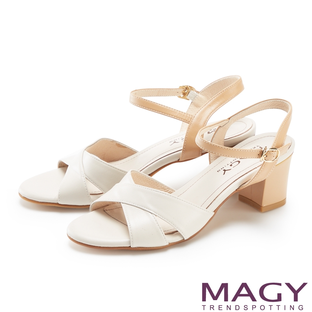 MAGY 造型交叉羊皮舒適粗跟 女 涼鞋 米色