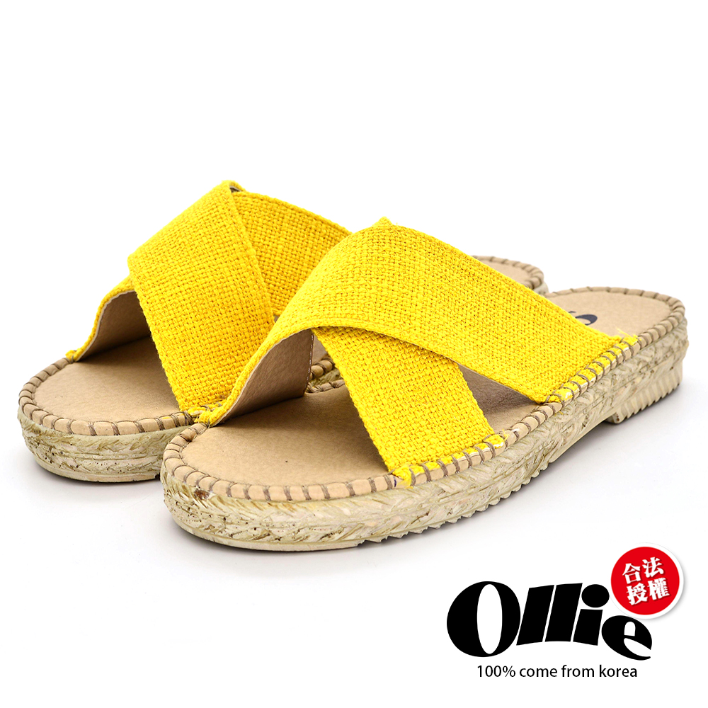 Aviator韓國空運-韓製Ollie夏日交叉帆布涼鞋-黃