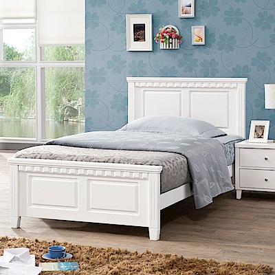 D&T德泰傢俱 CARO白色北歐實木3.5尺單人床-107x199x100cm