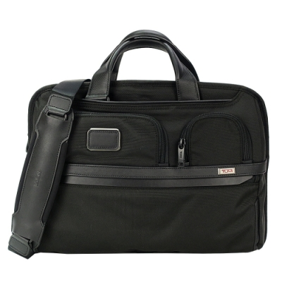 TUMI ALPHA 3 T-PASS系列15吋筆電多夾層開放式兩用手提包(黑)