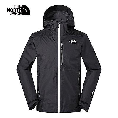 The North Face北面男款黑色防水透氣衝鋒衣 3V84JK3