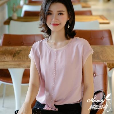 Mandy國際時尚 寬鬆釘珠蝴蝶結雪紡上衣 (3色)【韓國服飾】