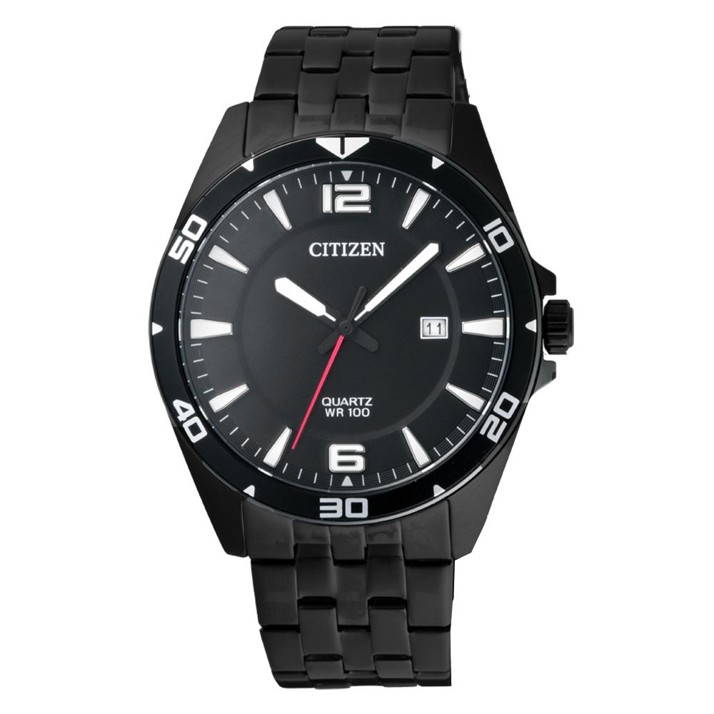 CITIZEN GENT S 光動能卓越都會男腕錶-黑(BI5055-51E)/42mm