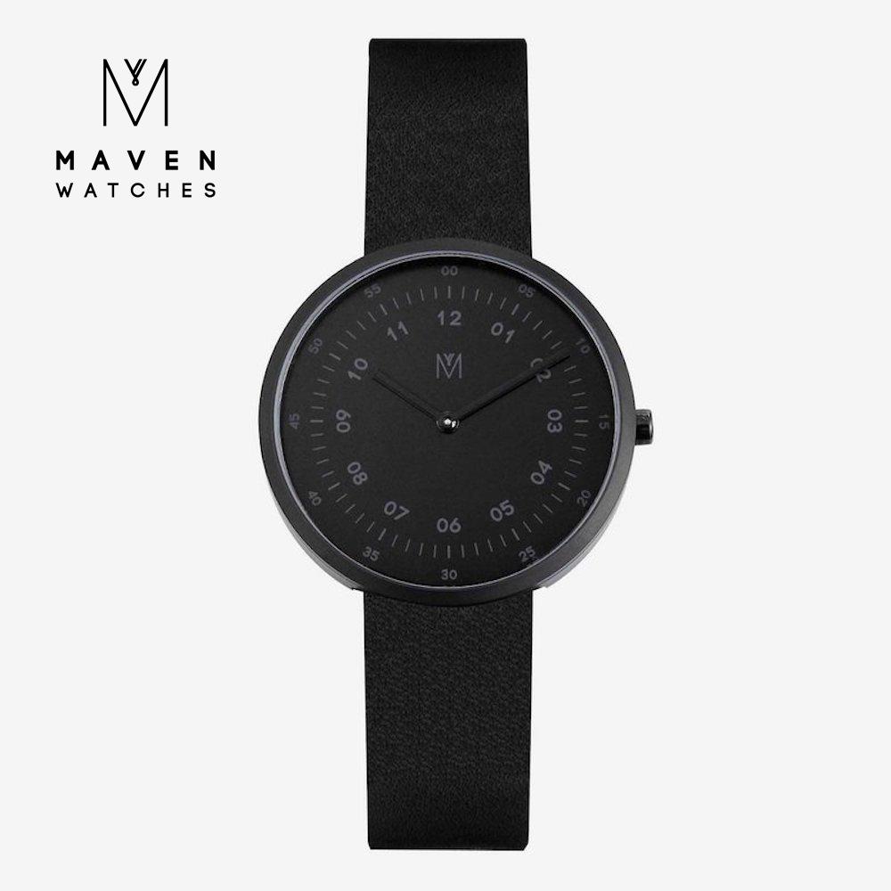 MAVEN WATCHES 匠藝錶款 34mm (霧黑框黑錶面/黑皮革)