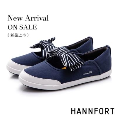 HANNFORT CALIFORNIA 海軍條紋蝴蝶結休閒鞋-女-深藍