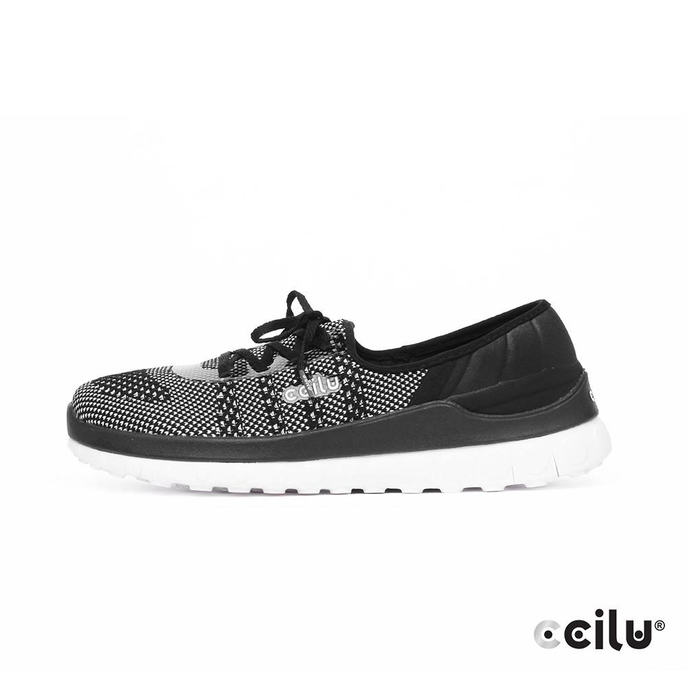 CCILU  飛織網布親膚綁帶休閒鞋-女款-302344021太空黑