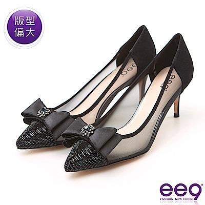 ee9 高雅氣質典雅蝴蝶結鑲嵌亮鑽跟鞋 黑色