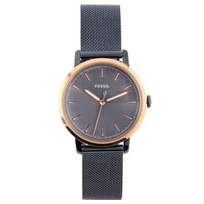 FOSSIL 極簡風灰藍經典米蘭鋼帶女腕錶(ES4312)