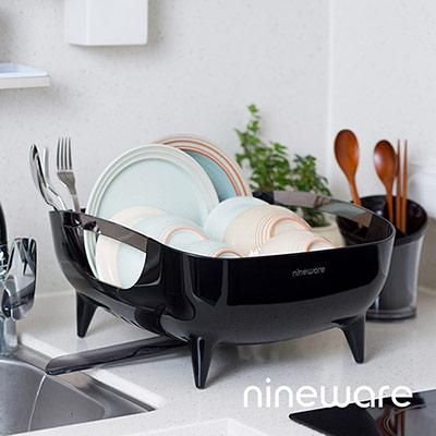韓國nineware 簡約碗盤瀝水籃-黑