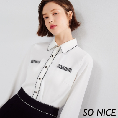 SO NICE優雅千鳥格雪紡襯衫