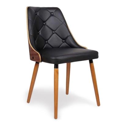 【AT HOME】美式復古胡桃實木腳黑皮餐椅(50*59*79cm)摩爾