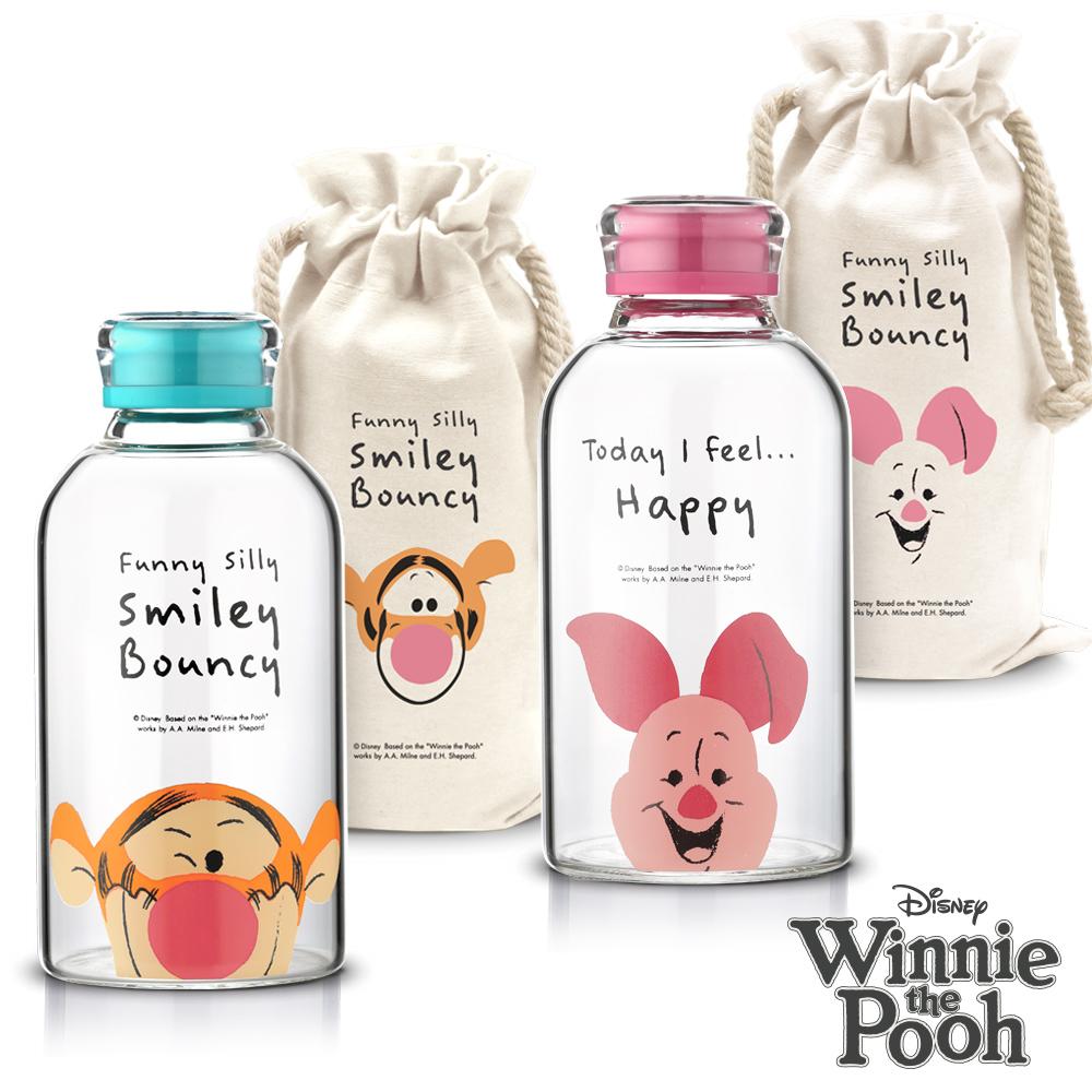 [買一送一] 迪士尼Disney 微笑小豬跳跳虎耐熱玻璃瓶袋組 620ml (快)