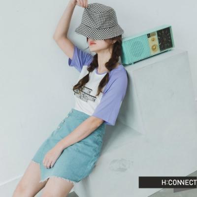 H:CONNECT 韓國品牌 女裝 -活力品牌圖印T-Shirt-紫